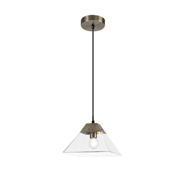 Ewen 1 Light Small Ceiling Pendant In Antique Brass - Length: 200mm