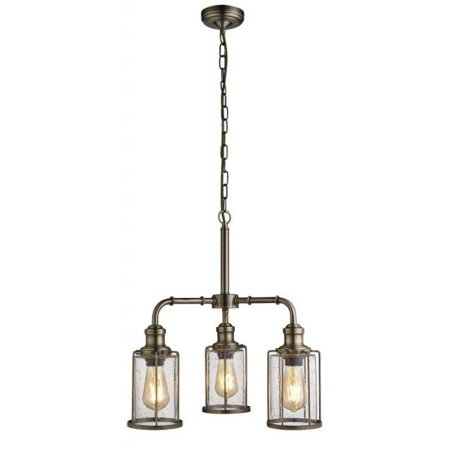 Searchlight 1163-3AB Pipes 3 Light Ceiling Pendant Light In Antique Brass