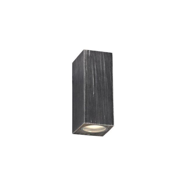 Poole 2 Light Rectangular Outdoor Wall Light In Black And Silver