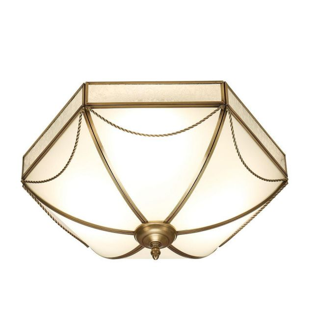 Interiors 1900 SN01FL43 Russell 3 Light Flush Ceiling Light In Antique Brass