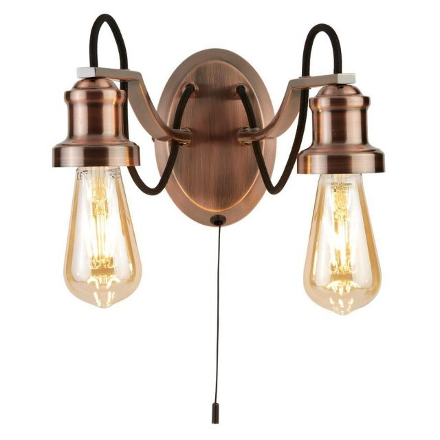 Searchlight 1062-2CU Olivia Two Light Wall Light In Copper