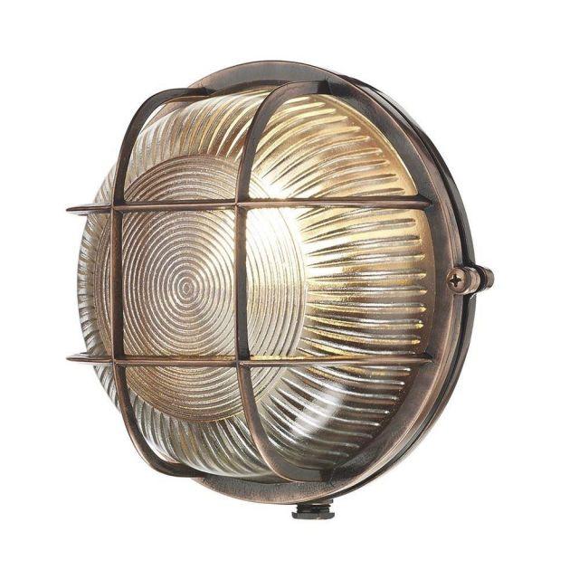 David Hunt Lighting ADM5064 Admiral 1 Light Round Wall Light In Antique Copper
