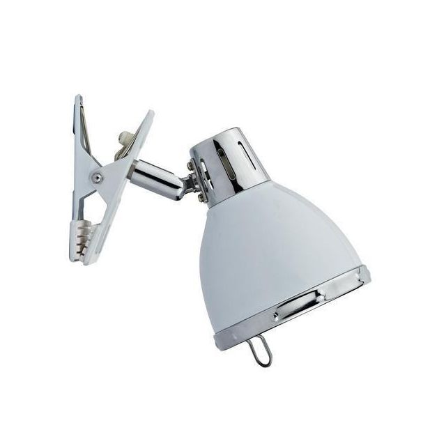 Dar OSA4133 Osaka 1 Light Clip on Spot Lamp in White with Sturdy Clamp