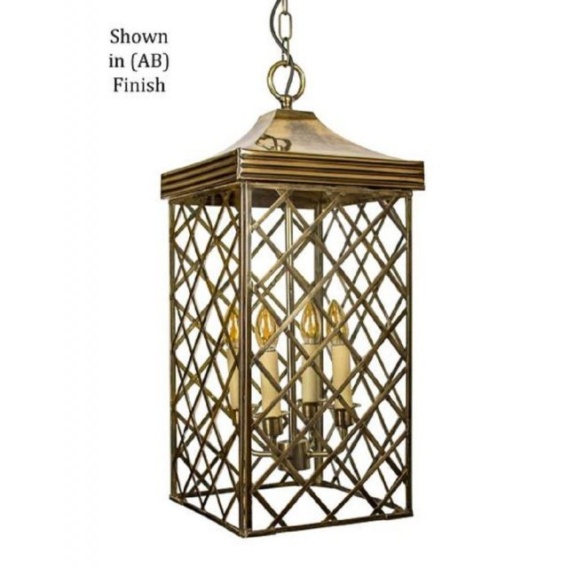 533AAB Ivy Large Hanging Lantern In Antique Brass - H:700mm