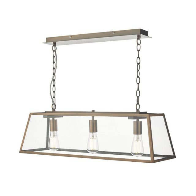 Dar ACA0364 Academy 3 Light Bar Pendant In Copper With Clear Glass