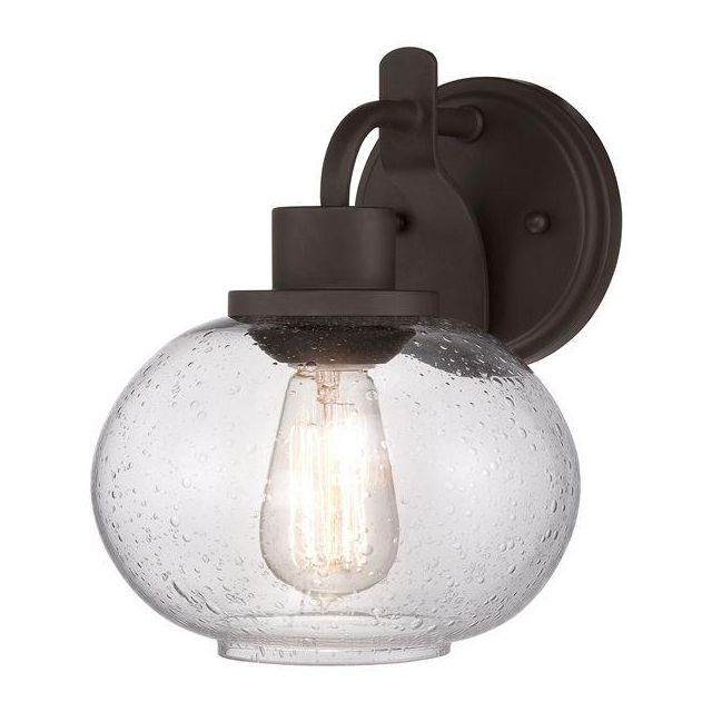 QZ/TRILOGY1 Trilogy 1 Light Old Bronze Wall Light with Glass Shade