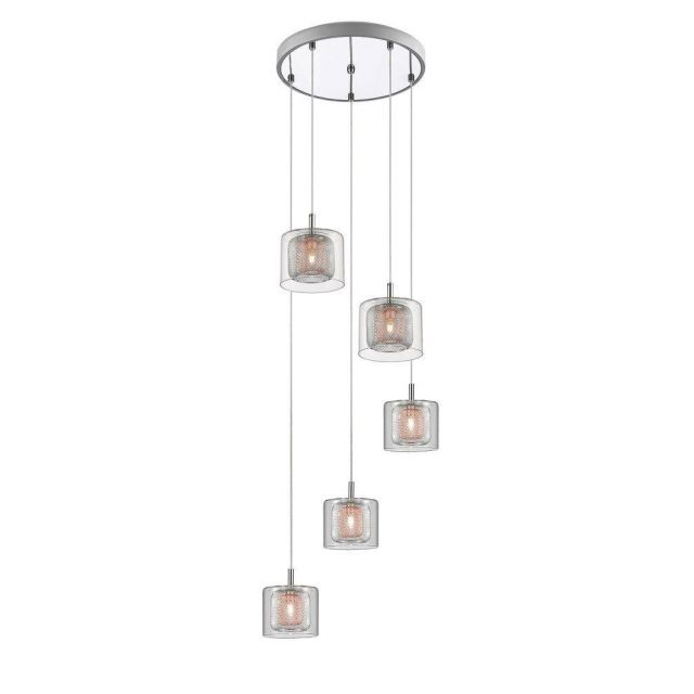 Impex PGH606101/05/CU/CH Laure Five Light Ceiling Pendant Cluster Light In Chrome And Copper