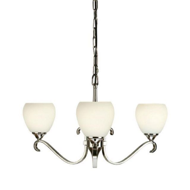 Interiors 1900 63445 Columbia 3 Light Ceiling Pendant With Opal Glass Shades In Nickel