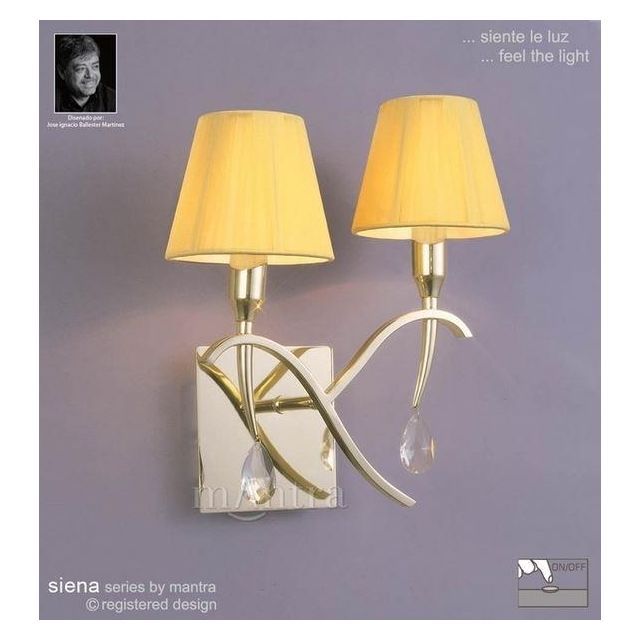 M0348PB/S Siena Polished Brass 2 Lt Switched Wall Lamp With Shades