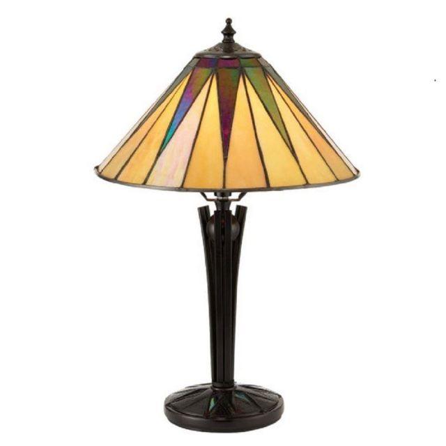 Interiors 1900 70367 Tiffany Dark Star Small Tiffany Table Lamp - Height: 440mm
