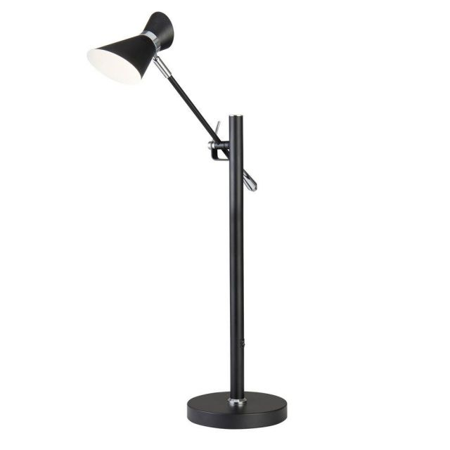 Searchlight 5961BW Diablo One Light Table Lamp With An Adjustable Arm In Black And White