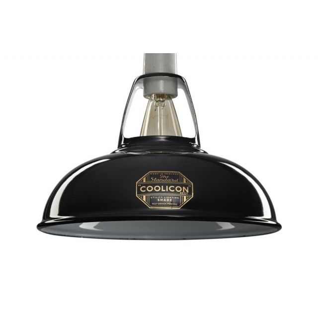 Coolicon 1 Light Small Classic Ceiling Pendant In Jet Black - Dia: 228mm