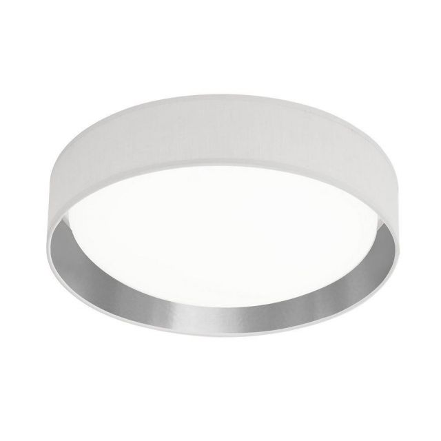 Searchlight 9371-37WSI Gianna Flush Ceiling Light In White And Silver - Dia: 370mm