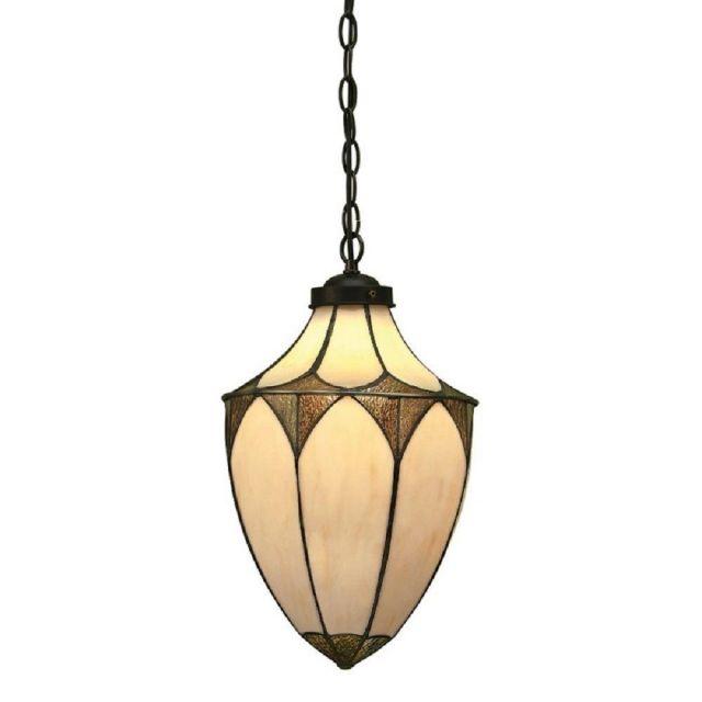 Interiors 1900 63974 Brooklyn Tiffany Acorn 1 Light Medium Ceiling Pendant In Cream