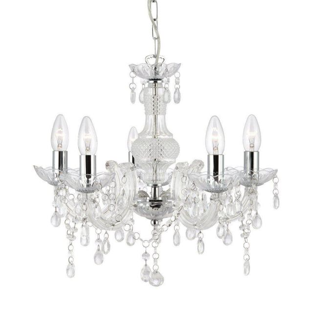 Searchlight 1455-5CL Marie Therese 5 Light Ceiling Pendant Light In Chrome