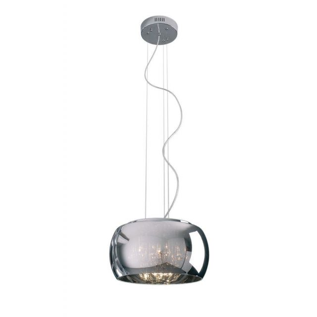 Impex CFH606091/05/A/CH Deni 5 Light Ceiling Pendant Light With 1 Shade In Chrome - Large-Dia: 400mm