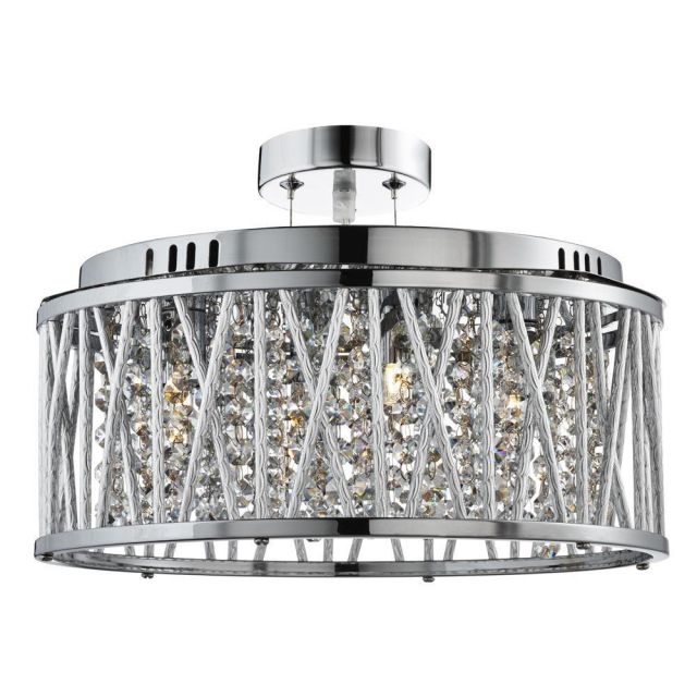 Searchlight 8335-5CC Elise 5 Light Ceiling Pendant Light In Chrome With Crystal Droplets