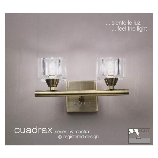 M2364AB/S Cuadrax 2 Light Antique Brass Switched Wall Lamp