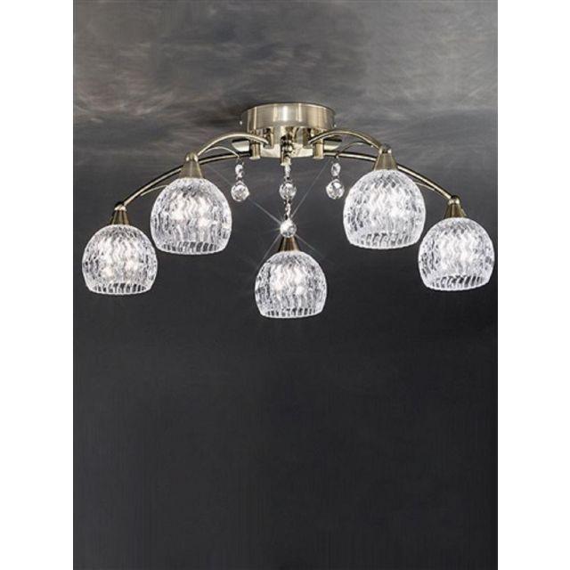 F2296/5 5 Light Bronze, Crystal Semi Flush Ceiling Light