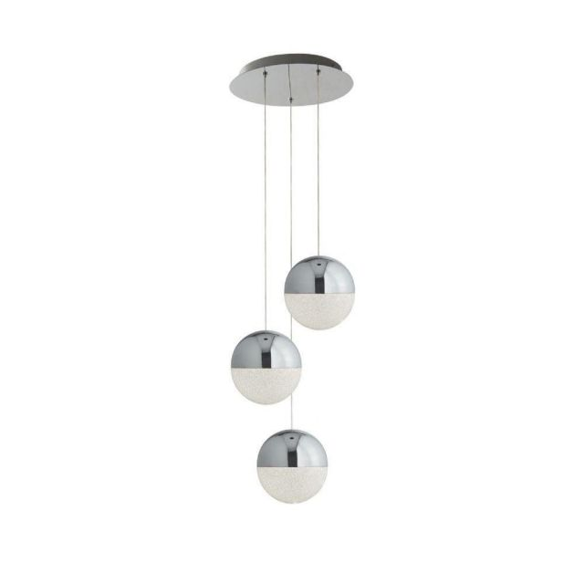 Searchlight 5842-3CC Marbles 3 Light Ceiling Cluster Pendant In Chrome And Crushed Ice