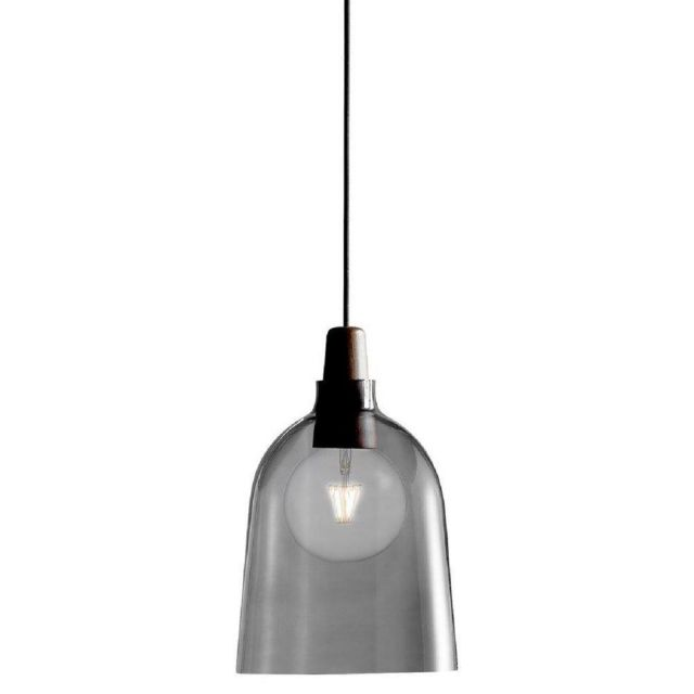 Nordlux 78353047 Karma 24 Ceiling Pendant In Black With Smoked Glass Shade