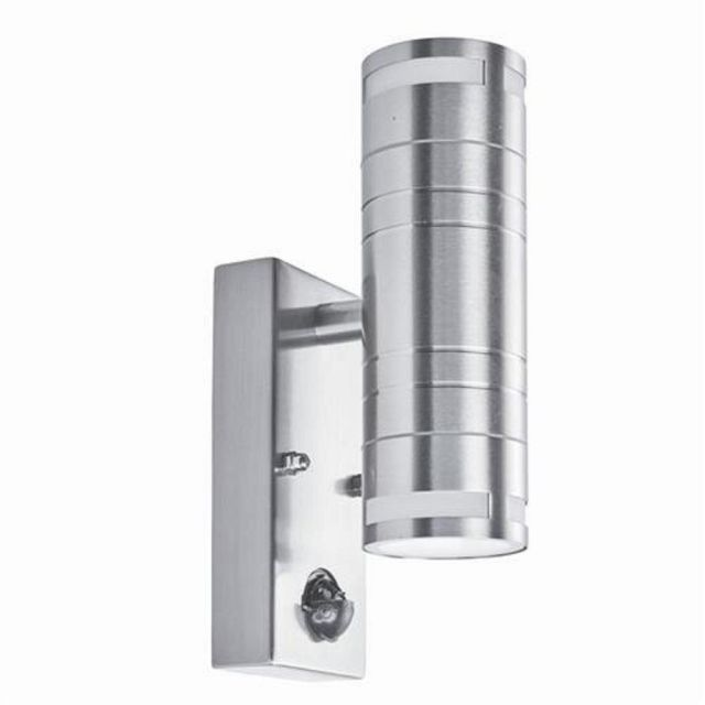 Searchlight 1318-2-LED 2 Light Outdoor LED Wall Light In Stainless Steel With Motion Sensor