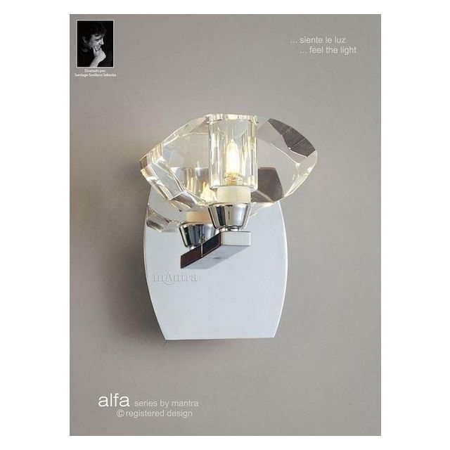 M0423PC/S Alfa 1 Light Polished Chrome Switched Wall Lamp