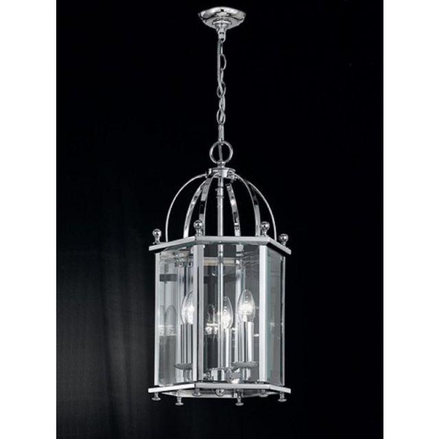L7008/3  3 Light  Chrome Hexangonal Lantern