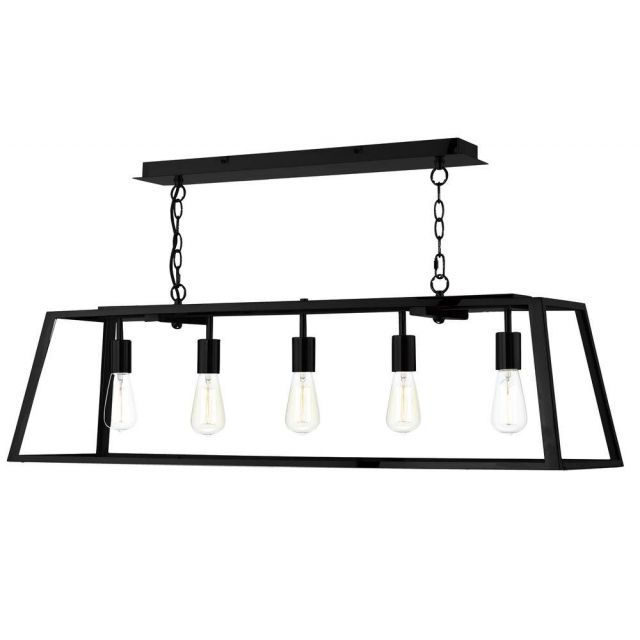 Dar ACA0522 Academy 5 Light Black Ceiling Pendant with Clear Glass