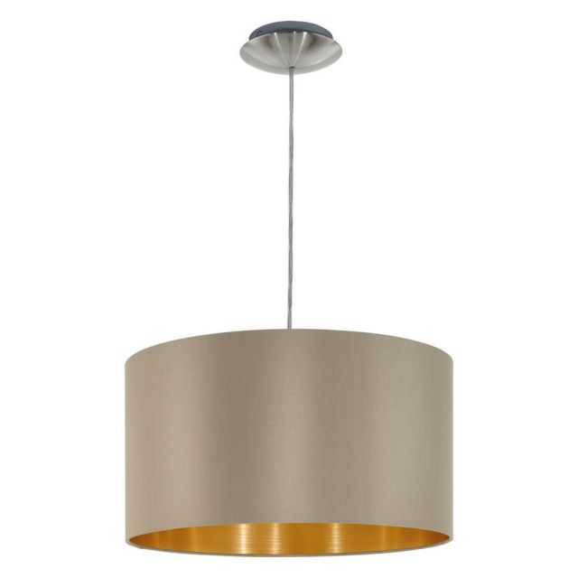Eglo 31602 Maserlo One Light Ceiling Pendant Light In Satin Nickel With Taupe And Gold Shade