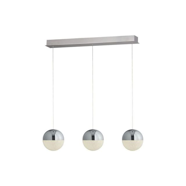 Searchlight 5843-3CC Marbles 3 Light Linear Pendant In Chrome And Crushed Ice