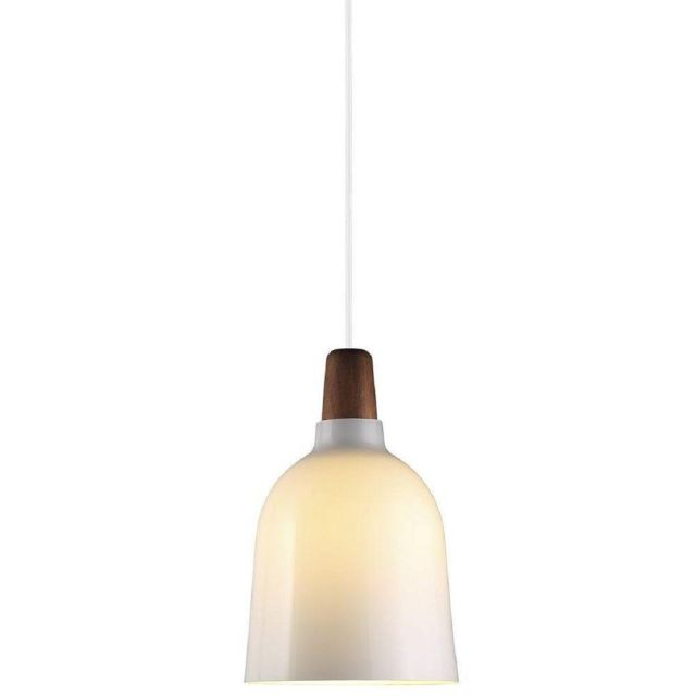Nordlux 78333012 Karma 14 Ceiling Pendant In Opal White And Walnut Wood - Dia: 140mm