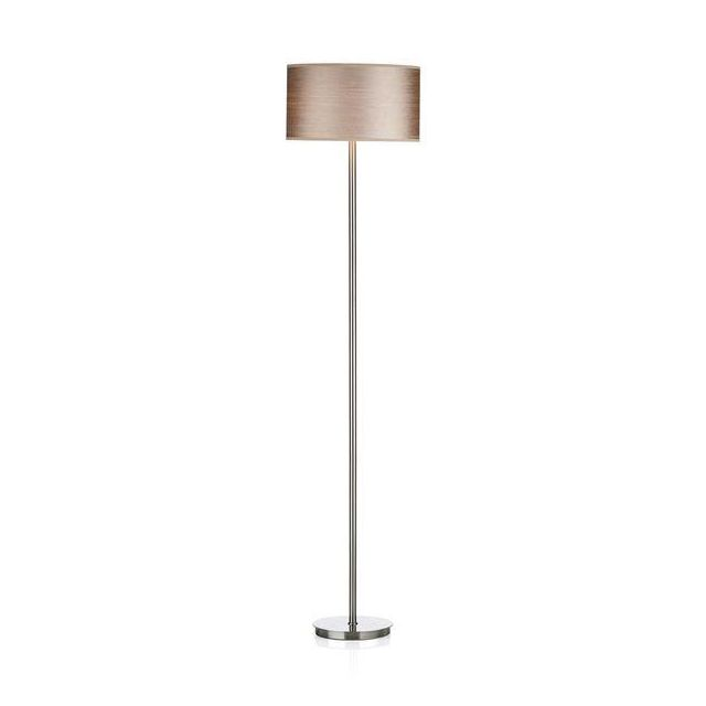 Dar TUS4946 Tuscan Floor Lamp In Satin Chrome With Optional Taupe Shade