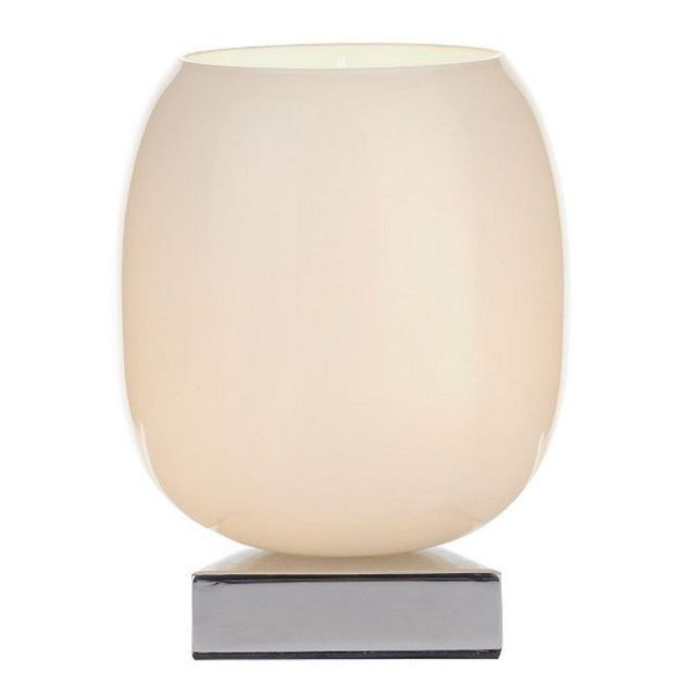DIN412 Dino Touch Table Lamp With White Glass And Polished Chrome Finish
