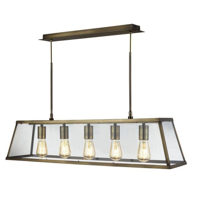Searchlight 4614-5AB Voyager 5 Light Linear Ceiling Light In Antique Brass