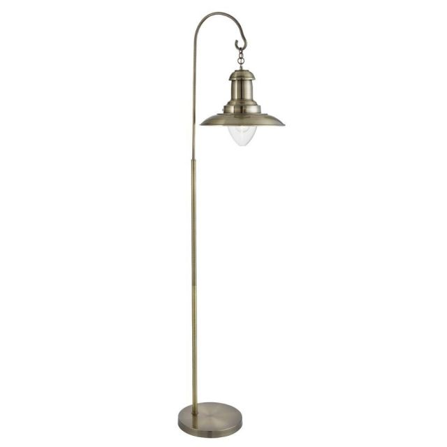 Searchlight 6502AB Fisherman 1 Light Floor Lamp In Antique Brass And Glass