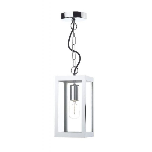 Dar LOT0150 Lotus 1 Light Polished Chrome Ceiling Lantern with Clear Glass
