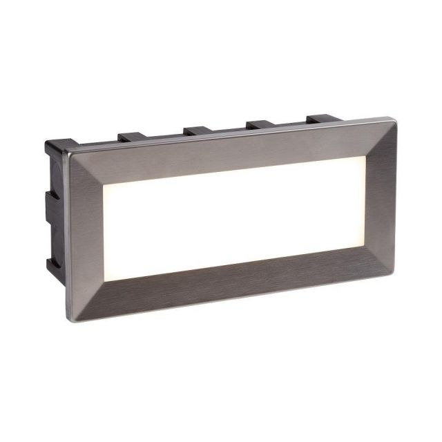 Searchlight 0762 Ankle Rectangular Recessed Outdoor Wall Light In Stainless Steel - Length: 205mm