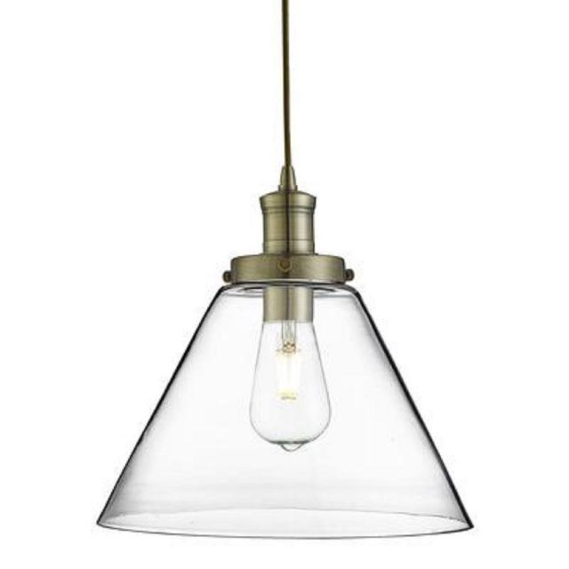 Searchlight 3228AB Pyramid 1 Light Ceiling Light In Antique Brass With Clear Glass