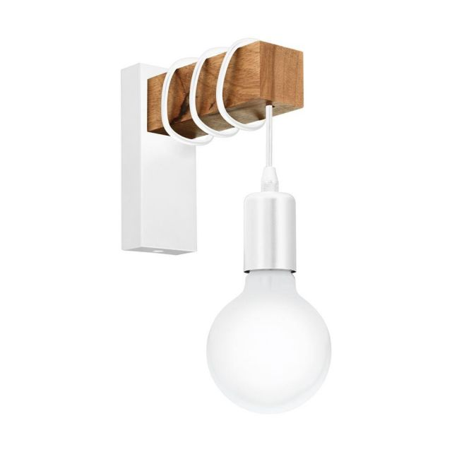 Eglo 33162 Townshend 1 Light Wall Light In Brown And White