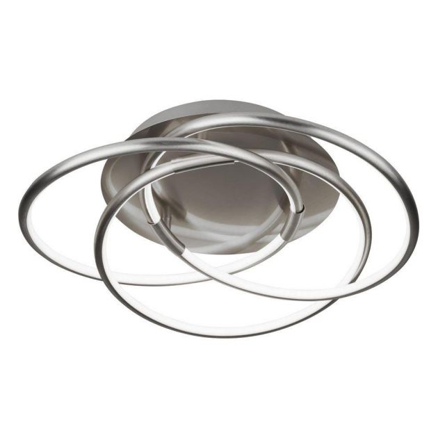 Searchlight 5501SS Magic 3 Light Flush Round Ceiling Light In Satin Silver - Width: 480mm