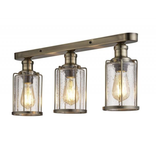 Searchlight 1263-3AB Pipes 3 Light Semi Flush Ceiling Light In Antique Brass