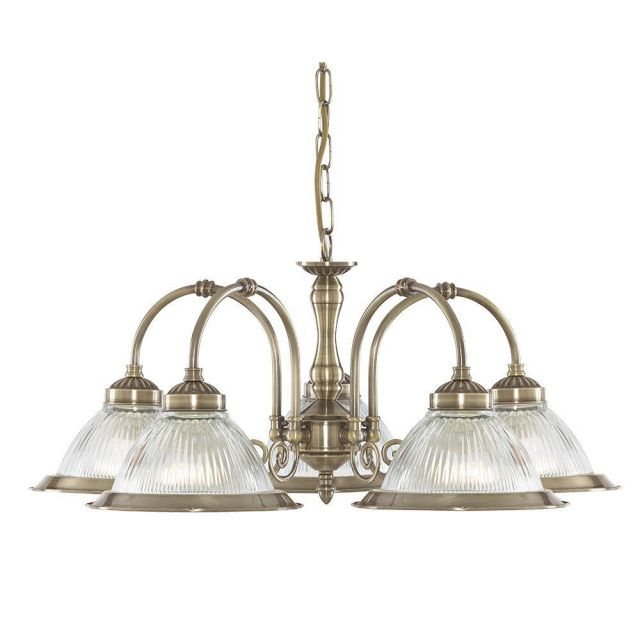 Searchlight 9345-5 American Diner 5 Light Ceiling Pendant In Antique Brass