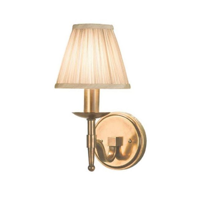 Interiors 1900 63653 Stanford Antique Brass 1 Light Wall Light With Beige Shade In Brass