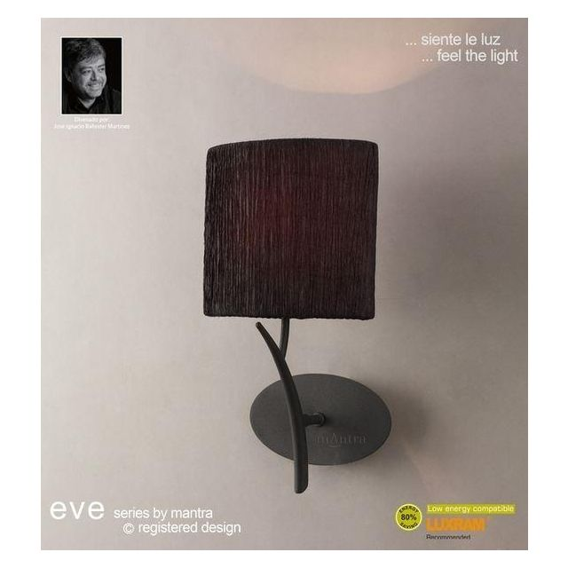 M1154/BS Eve 1 Light Anthracite Wall Lamp With Black Shade