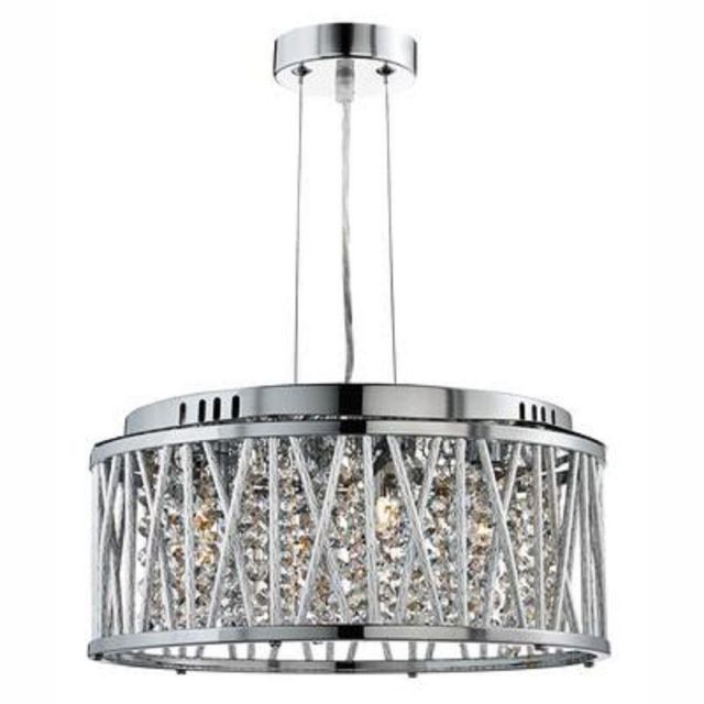 Searchlight 8334-4CC Elise 4 Light Ceiling Pendant Light In Chrome With Crystal Droplets