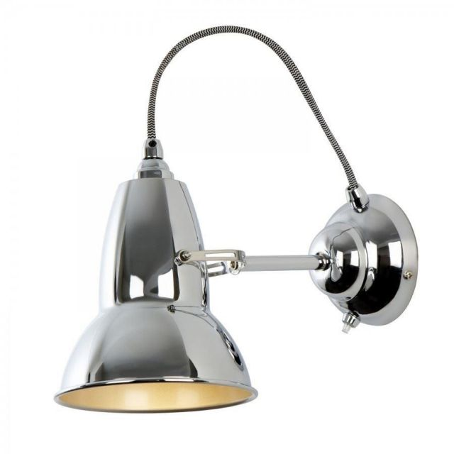 DUO Wall Light in Bright Chrome with White/Black Cable