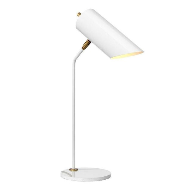 Elstead QUINTO/TLWAB Quinto 1 Light Table Lamp In White And Aged Brass