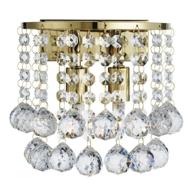 Searchlight 2402-2GO Hanna 2 Light Wall Light In Gold With Crystal