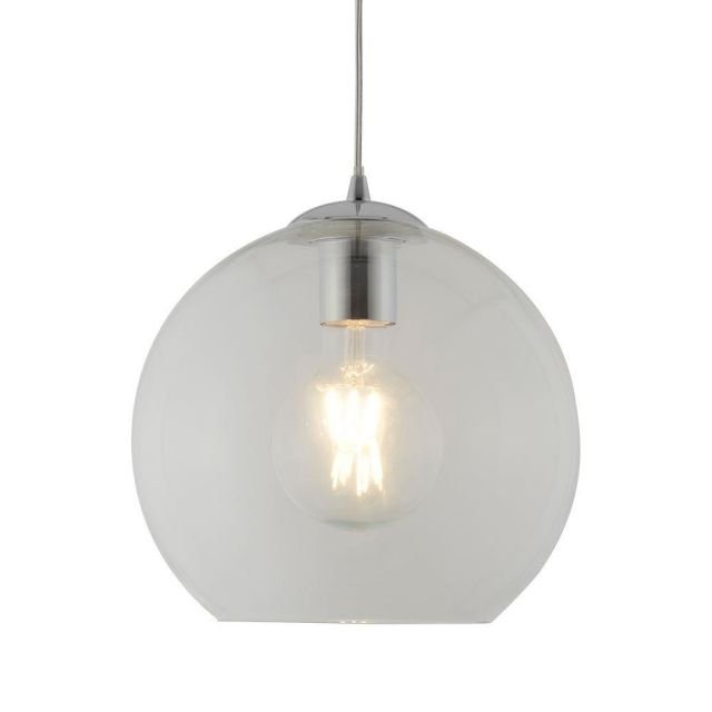 Searchlight 1621CL Balls One Light Celing Pendant In Chrome And Clear Glass - Width: 250mm